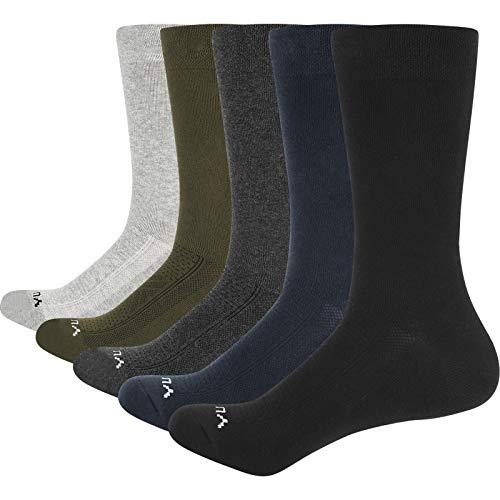 YUEDGE Calcetines Hombres Algodón Transpirable de Vestir Trabajo Negocios Calcetines Clásicos para Hombre 5 Pares Pack Negro/Gris/Azul L