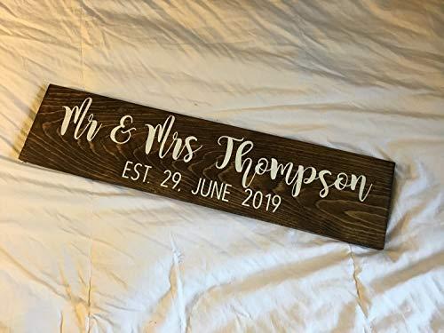 Ced454sy De heer en mevrouw Oprichting Datum Bruiloft Sweetheart Tafel Pallet teken