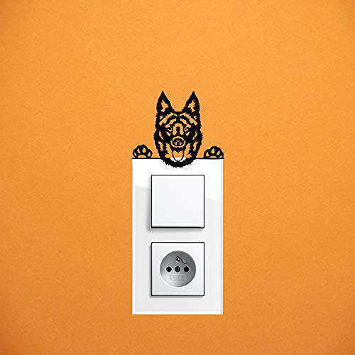 myrockshirt Adhesivo para interruptor de luz, diseño de perro MUDI tipo 2, aprox. 10 cm, para coche, pintura, cristal y pared, adhesivo de calidad profesional
