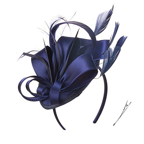 JAWEAVER Tea Party Fascinators Cocktail Feather Headwear Top Hat for Girls and Women Cosplay Host Hostess Presenter (A Navy Blue)