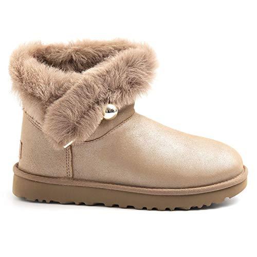 UGG Damen Stiefel Classic Fluff Pin Mini Perle - UGSCLFLPMAP1103761W, Beige - beige - Größe: 37 EU