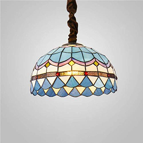 YUNZHI Durable Exquisite 16 Inch Single Head Chandelier Sea Blue Mediterranean Style Wrought Iron Chain Ceiling Pendant Light for Dinning Room
