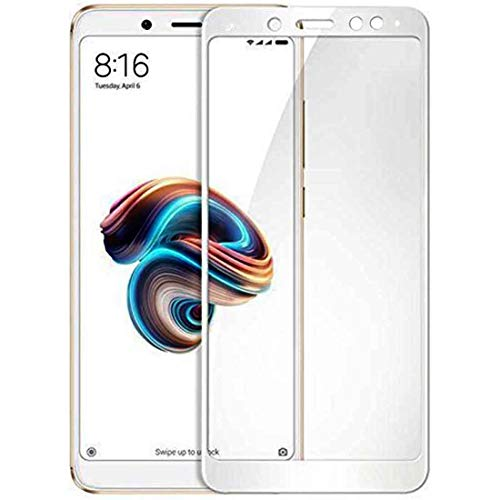 Casotec 5D Curved Edge 9H Hardness, Edge to Edge Border Tempered Glass Screen Protector (Unbreakable Edges) for Xiaomi Redmi Note 5 Pro - White