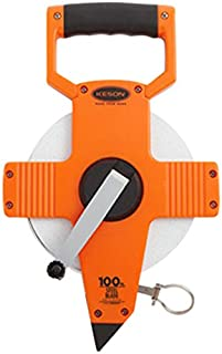 Keson NR10100 Nylon Coated Steel Blade Measuring Tape with Extra Dead Foot and Ring End (Graduations: 1/10, 1/100), 100-Foot