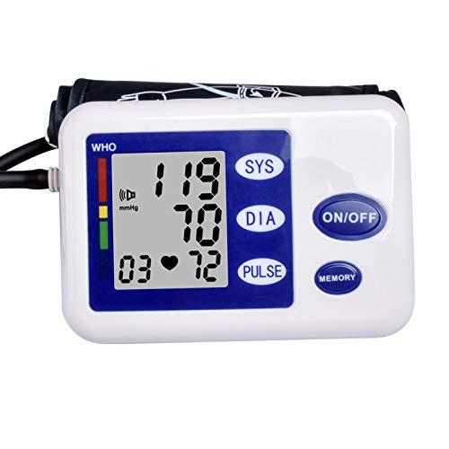 Monitor de presión Arterial del Brazo Superior, esfigmomanómetro automático y Digital Equipo de medición de BP con Anuncio de Voz (Azul)