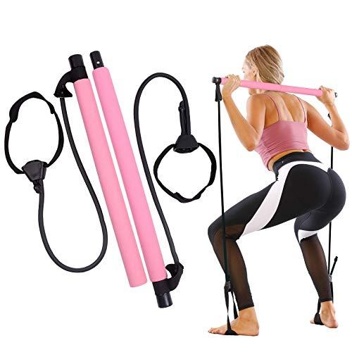 GLKEBY Kit de Barra de Pilates con Banda de Resistencia Ajustable Barra de Pilates portátil para Estiramiento, Yoga, Modelado, Ejercicio, Abdominales, Perder Peso (Pink)