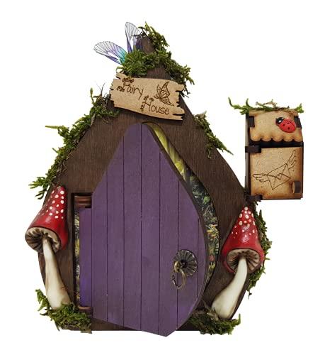 Puerta de hadas fantasía en color morado de madera