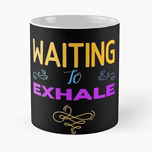 Taza de café de cerámica con frase 'Waiting to Drake Existing Exhale' de 315 ml, con texto en inglés 'Eat Food Bite John Best Taza de café de cerámica de 315 ml
