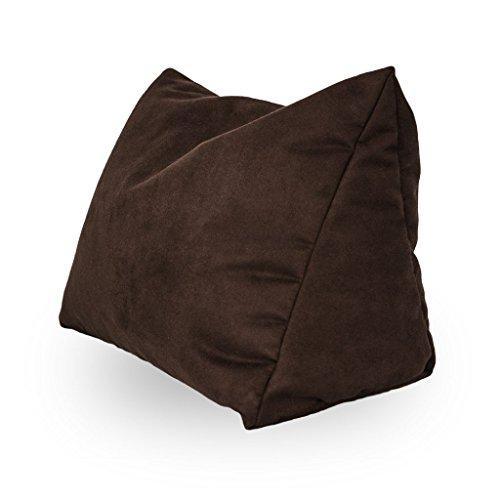 Lesekissen und Rückenstütze in Mikrofaser für optimalen Sitzkomfort Keilkissen Nackenkissen Dekokissen Fernsehkissen für Bett und Couch mit Schaumstoffflocken (Dunkelbraun)