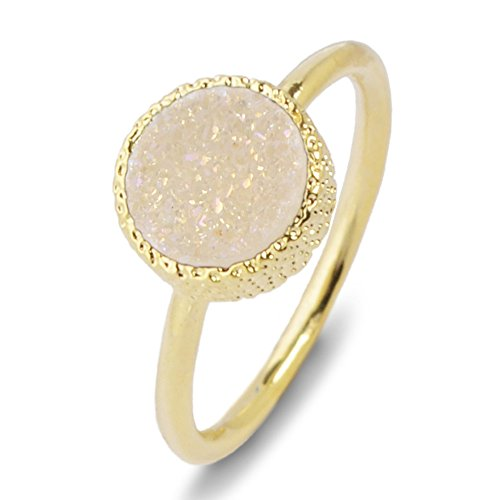 ZENGORI 1 Piece 10mm Gold Plated Round Natural Agate Titanium Drusy Ring Bezel Setting