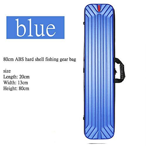 HEIFEN Tragbare wasserdichte angelrute träger hartschale angelrute aufbewahrungsbox 2 Schichten große kapazität abs hartschale Material länge 80 cm Blue