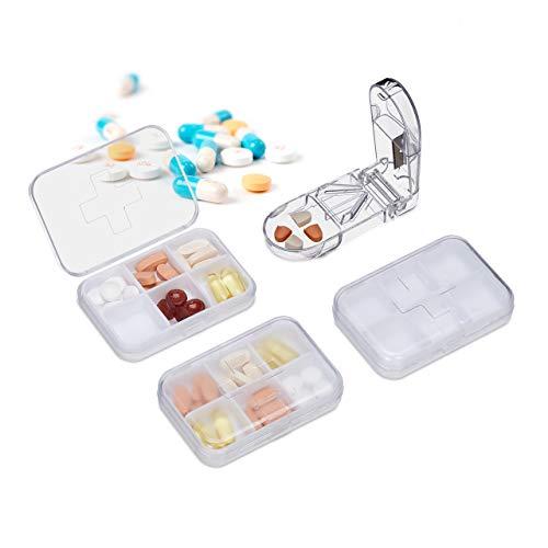 Relaxdays Pillendose 3er Set, 6 Fächer, Tablettenteiler, leicht, handlich, unterwegs, Kunststoff, Reise Pillenbox, weiß