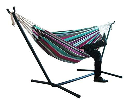 GlISR 200 * 150cm intérieur/extérieur Camping hamac Suspendu Chaise Durable Stripe Toile épais Confort Hamacs Chaises Swing sans étagère (Color : Color 4)