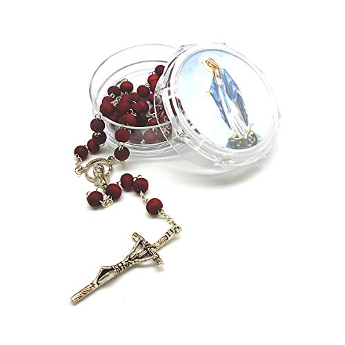 DELL'ARTE Rosario y rosario de madera perfumada a las rosas - Virgen milagrosa
