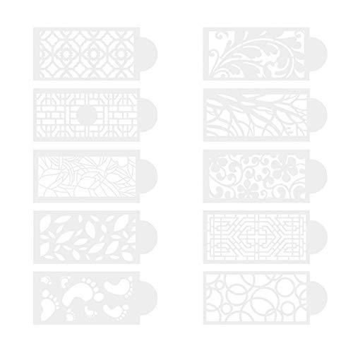 10 plantillas para decoración de tartas, diseño floral, con encaje hueco, para fondant, tartas, moldes de plástico para bricolaje, hornear, bodas, tartas de cumpleaños