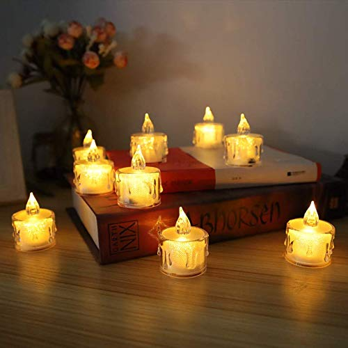 LED Flameless Candles Tea Lights Candle, Battery Operated Fake Candles, Crystal Flameless Tea Candle with Soft Warm Light, Perfect for Valentine's Day, Halloween, Christmas (Small)