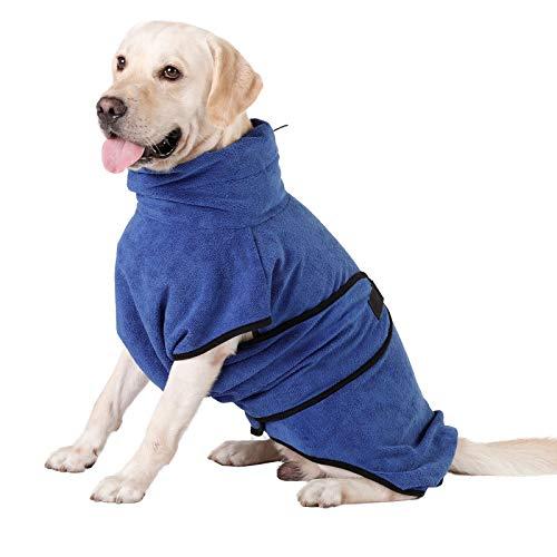 HAPPY HACHI Mikrofaser Hunde Bademantel Badetuch Hundebademantel Waschbare Super Saugfähig Feuchtigkeit Schnell Trocknend Handtuch Strandtuch für Kleine Mittlere und Große Hund Katze Blau XL