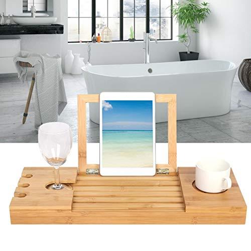 Escritorio de bañera, Mesa de bambú Resistente al Calor para computadora portátil, antirrayas para su teléfono, computadora portátil, Copas de Vino y Velas para computadora portátil