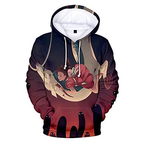 Dsti Sudadera con Capucha 3D Hayao Miyazaki Anime Spirited Away Imprimió Hoodies Hombres Manga Larga Pullover Sweatshirt,13T~14T
