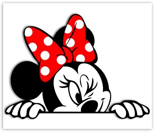 Biomar Labs® 1 x Pegatina Vinilo Autoadhesivo Divertido Minnie Mouse Etiqueta Dibujos Animados Sticker Coche Car Moto Ventana Puerta Casco Scooter Bici Motocicleta Tuning B 246