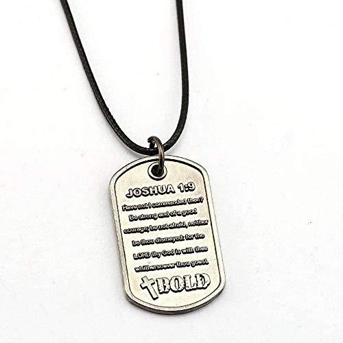 LBBYMX Co.,ltd Collar de Moda Biblia Biblia Escritura Dios Jesús Joshua Cadena de Cuero Colgante de Cuerda Hombres Mujeres Regalo Accesorios de joyería