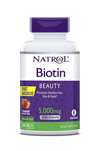 Natrol - Biotina belleza extra fuerza rápida disolver fresa 5000 mcg. - 150tabletas