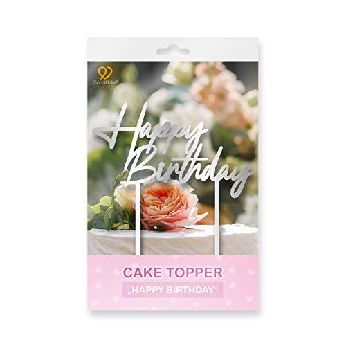 """GoodBake Cake Topper """"Happy Birthday"""" – silber – Torten-Deko / Kuchen-Deko – Tortenaufleger, perfekt zum Dekorieren für Geburtstage, Partys uvm."""