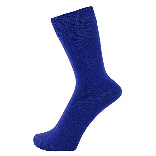 ZAKIRA Finest Combed Cotton Dress Socks in Plain Vivid Colours for Men, Women, 6-9 (US), Royal Blue