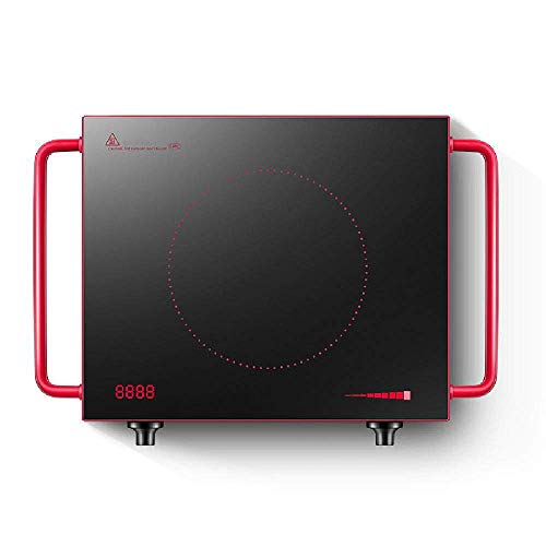 XIUYU Induktionskochfeld Desktop Anti-hot Griff Glaskeramikherd tragbarer Elektroherd 2200W, Strahlung schwarz-Panel Steuerknopf sicher niedrig, Rot (Color : Red)