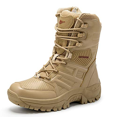 WQLESO Herren Militär Desert Tactical Boots Outdoor Wandern Prävention Jungle Army Traine Combat Patrol Boots,Sand-44