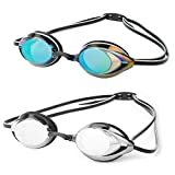 DARIDO Swim Goggles,Pro Swimming Goggles 2 Pack Clear View Anti Fog UV Protection No Leaking for Adult,Men,Women,Youth,Kids