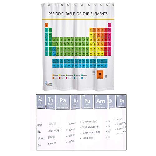 Binnan Duschvorhang Periodensystem Badezimmer Vorhang 180x180cm Antischimmel und wasserabweisender Duschvorhang