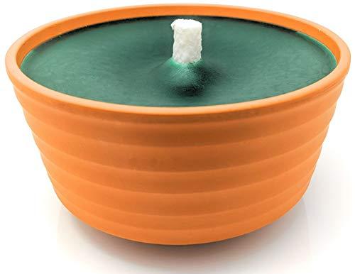 Lavalis XXL Terrakotta-Flammschale mit 15h Brenndauer, große Garten-Kerze für Grill-Fest, Hochzeit und Party, 15 cm Flammenhöhe, 18 cm Durchmesser