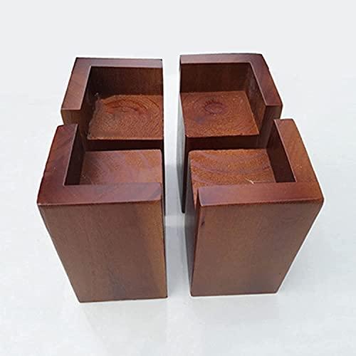 Muebles De Madera Maciza Natural Patas Para Muebles Paquete De 4 Paquetes De Depresión Antideslizante Pies Para Muebles Para Sofá Mesa De Café Gabinete De TV Con Pies Elevados,6 * 6 * 5cm