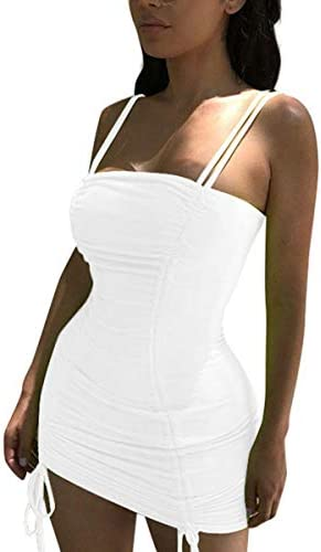 LuFeng Women s Double Spaghetti Strap Ruched Bodycon Sexy Dresses Party Night Club Dresses White product image