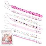 O³ Cadena Chupete Bebe 7 Unidades – Chupetes de Clip Bebé Ajustables – Cuelga Chupetes De Material Seguro – Lavable – 2 Versiones De Colores (Rosa)
