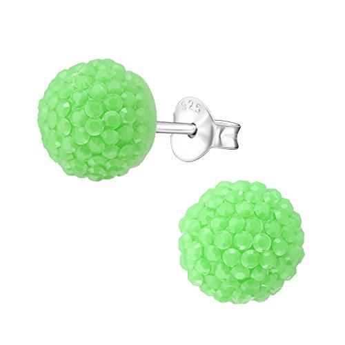 Laimons Pendientes para mujer de media esfera brillante verde plata de ley 925