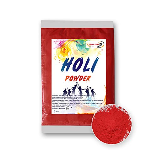 INDIAN STORE 24 Holi Gulal Pulver wasserlöslich Natural Festival Fotoshooting Rangoli Colors Regenbogen Powder holy farbbeutel Glitzer Farbpulver Fotos (Red)