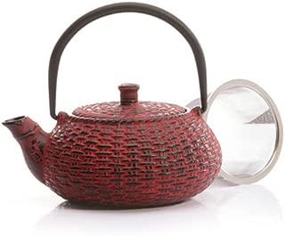 Japanese Tetsubin Red Cast Iron Weave Teapot