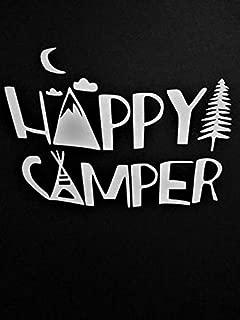 Chase Grace Studio Camping Happy Camper Vinyl Decal Sticker White Cars Trucks SUVs Vans Laptops Walls Glass Metal 6.5