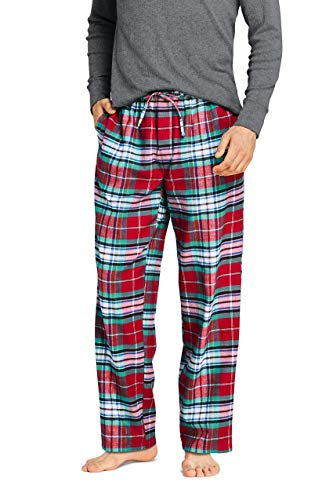 Lands' End Men's Tall Flannel Pajama Pants Large Rich Red Plaid
