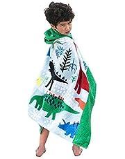 HZAMING Toalla de baño con capucha para niños, 100% algodón, para niños, súper suave (dinosaurios)