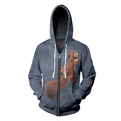 LeeQn 3D Druck Hoodie Kapuzenpullover Langarm Sweatshirt Kapuzenjacke Mit Taschen Reißverschluss Süßes Eichhörnchen L