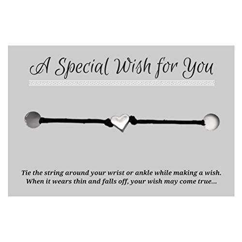 Small Heart Black Wish Bracelet - Hemp with Silver Tone Charm on Printed Card - Adjustable - Unisex