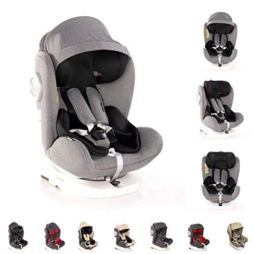 Lorelli Kindersitz Lusso, SPS, Isofix, Gruppe 0+/1/2/3, (0-36 kg), Sitz drehbar, Farbe:hellgrau