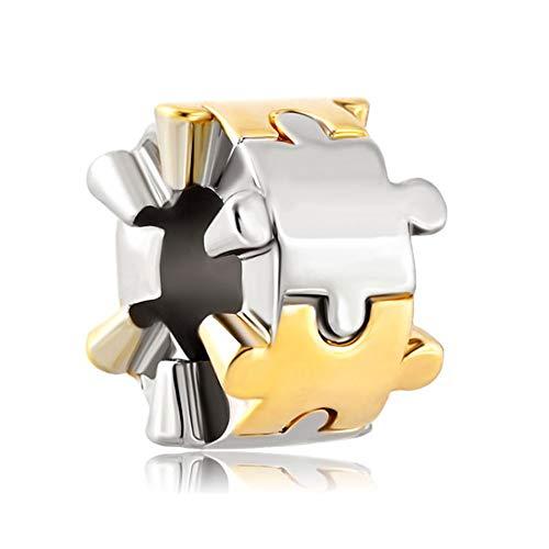 Poetic Charms - Colgante de plata de ley 925 con autismo, diseño de puzle para pulseras europeas