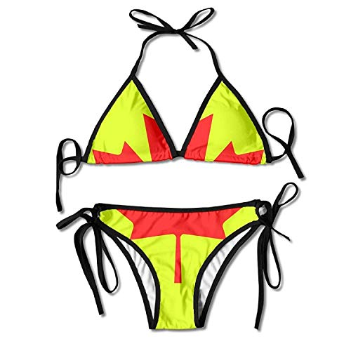Gxdchfj Women's Canada Mapple Leaf Tie Side Bikini Swimsuit Bathing Suit