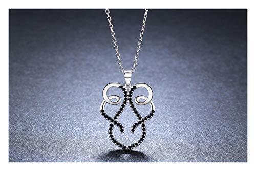 Homeilteds Joyería del Collar de rubí sintético Negro Colgantes del Collar Femenino de la Mujer Gifts
