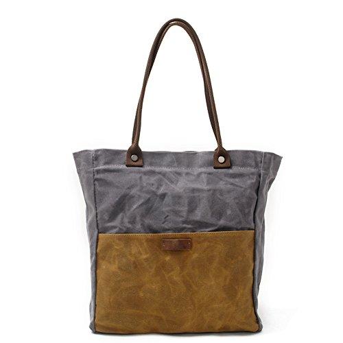 Damen Canvas Wasserdichte Schultertasche Handtasche Handtasche Einkaufstasche (Grau-Khaki)