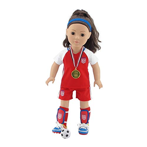 Emily Rose 18 Inch Doll Clothes for Journey Girls   World Cup USA 8 Piece 18 Inch Doll Soccer Uniform, Including Realistic Medal!   Doll Clothes Fit American Girl and Our Generation Dolls